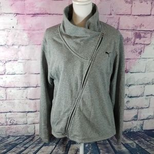 PUMA GRAY ASYMMETRICAL ZIP UP SLOUCH NECK HOODIE